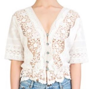 Kooples cotton lace turq button top